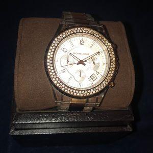 Womens Rose Gold & Clear Michael Kors watch